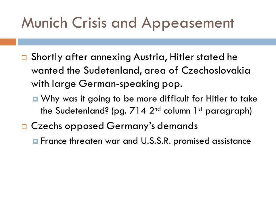 Munich Crisis and Appeasement