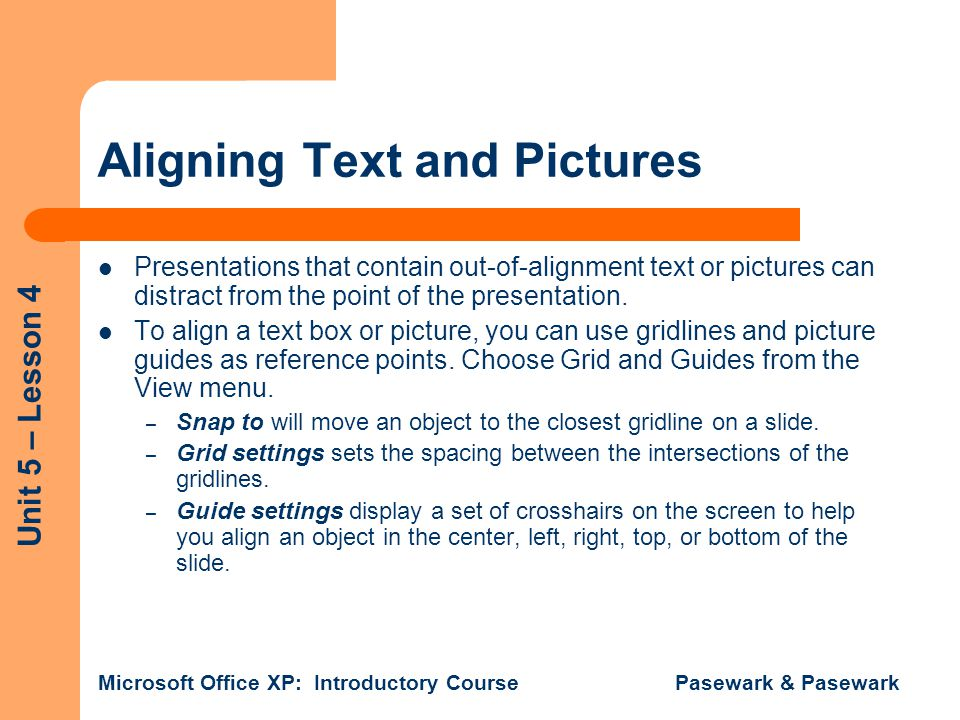 Aligning Text and Pictures