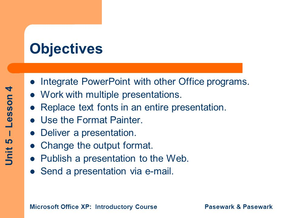 Objectives Integrate PowerPoint with other Office programs.