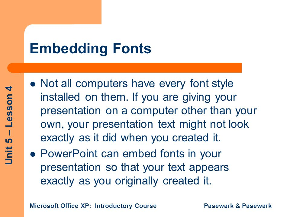 Embedding Fonts