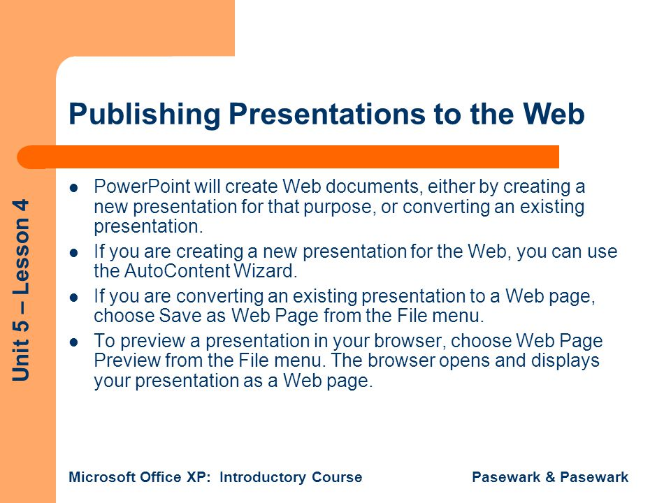 Publishing Presentations to the Web