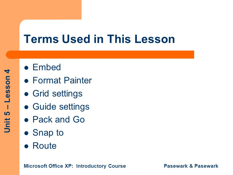 Terms Used in This Lesson