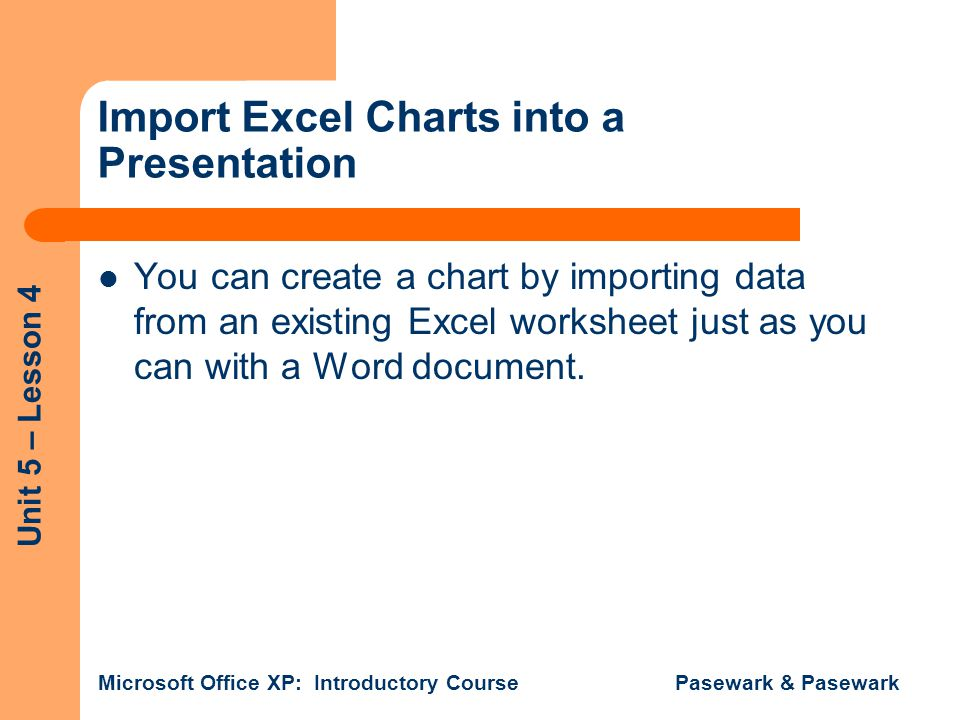 Import Excel Charts into a Presentation