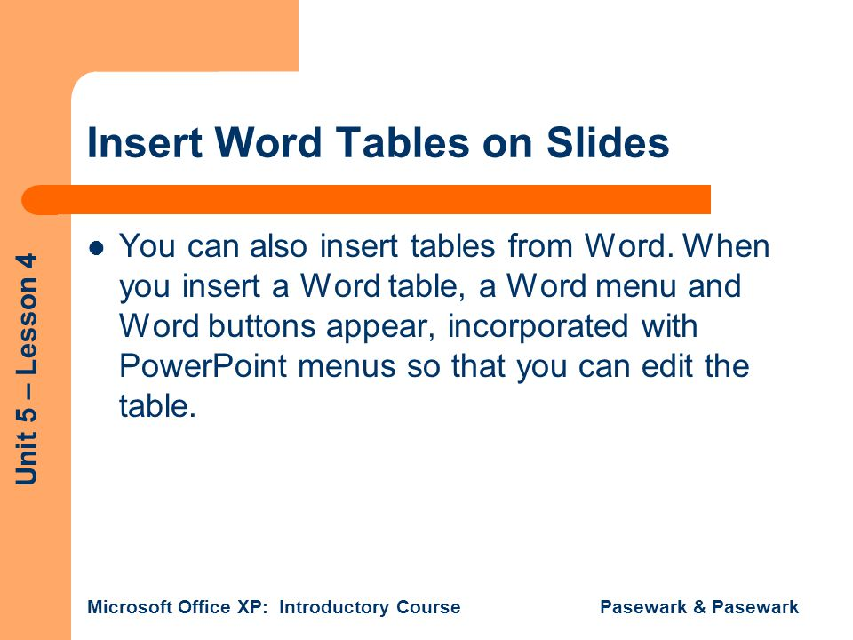 Insert Word Tables on Slides