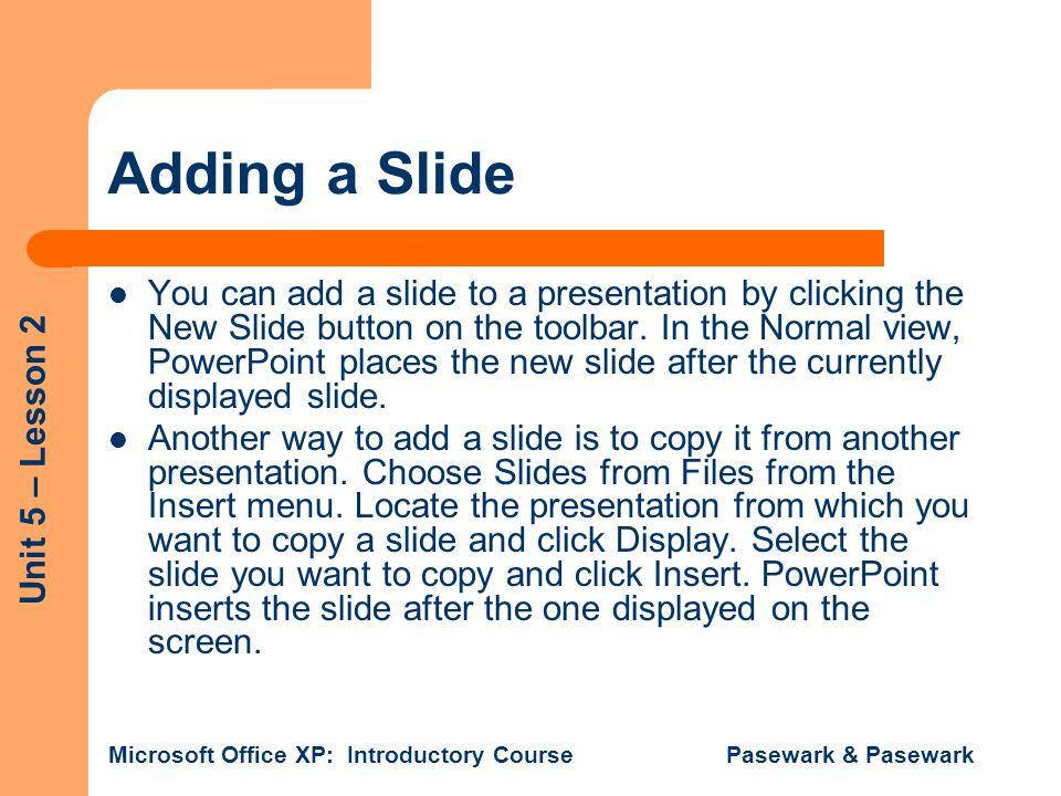 Adding a Slide
