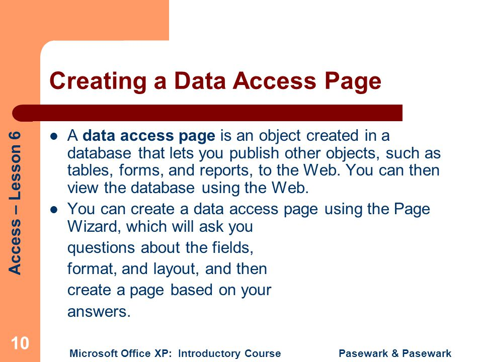 Creating a Data Access Page