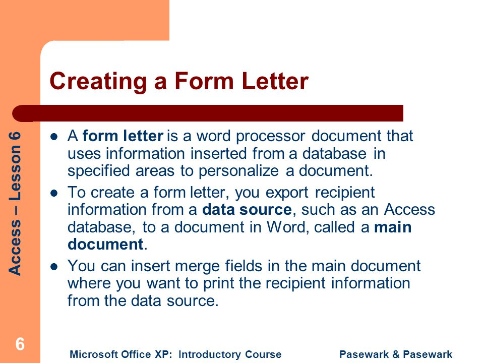 Creating a Form Letter