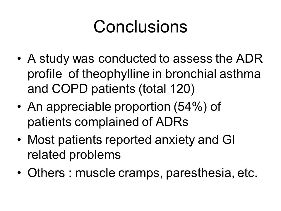 Conclusions A study was conducted to assess the ADR profile of theophylline in bronchial asthma and COPD patients (total 120)