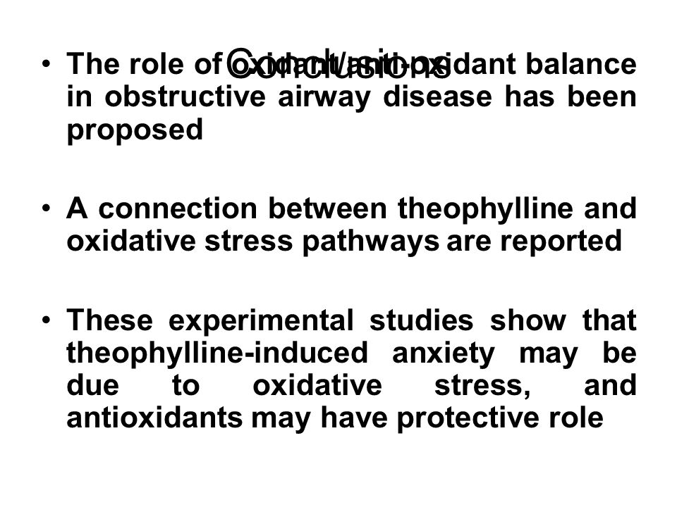 Conclusions The role of oxidant/anti-oxidant balance in obstructive airway disease has been proposed.