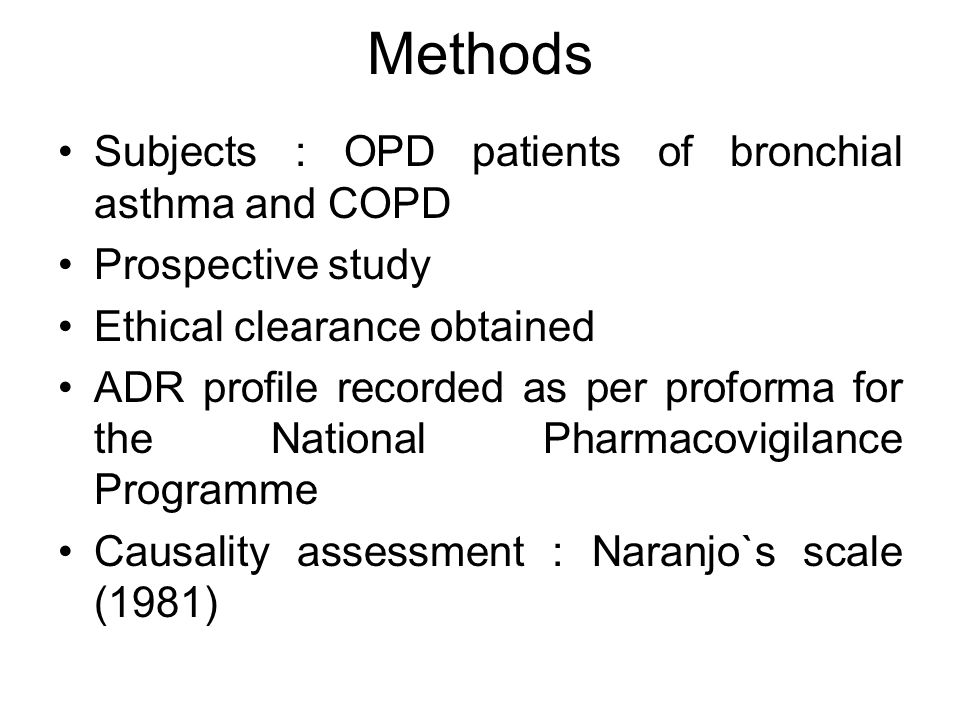 Methods Subjects : OPD patients of bronchial asthma and COPD