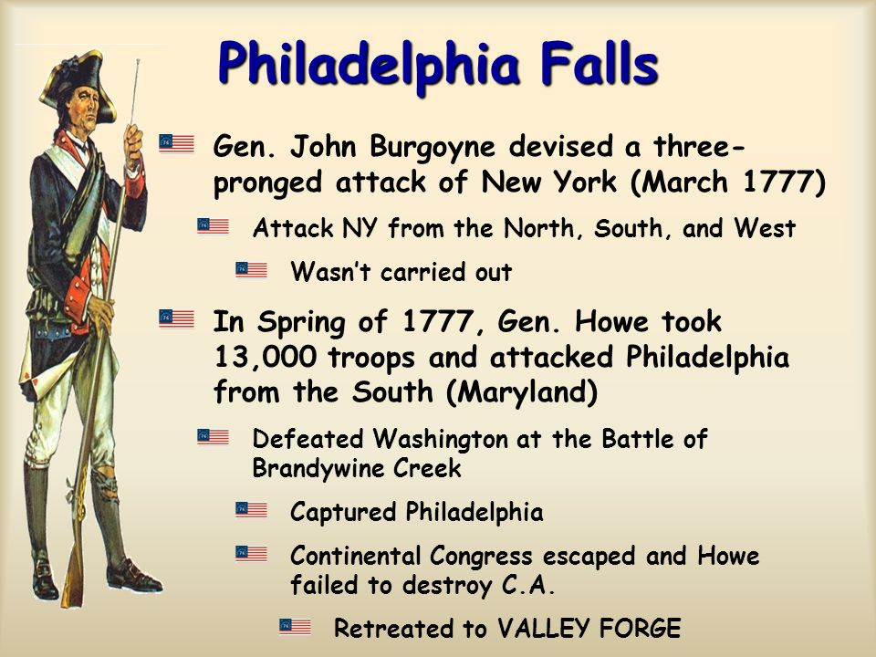 Philadelphia Falls Gen. John Burgoyne devised a three-pronged attack of New York (March 1777) Attack NY from the North, South, and West.