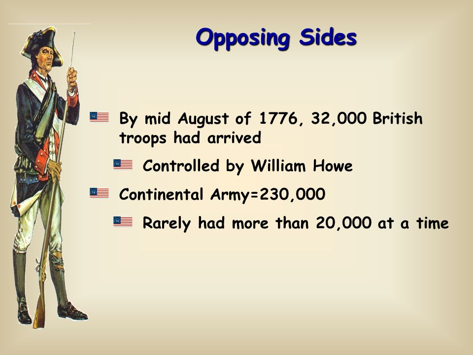 Opposing Sides By mid August of 1776, 32,000 British troops had arrived. Controlled by William Howe.