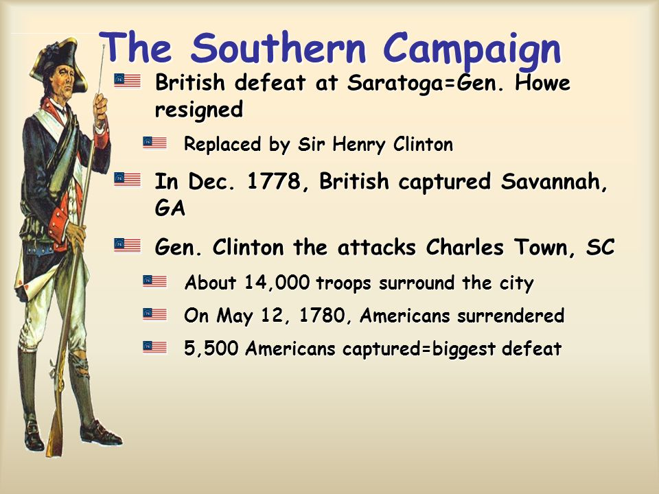 The Southern Campaign British defeat at Saratoga=Gen. Howe resigned