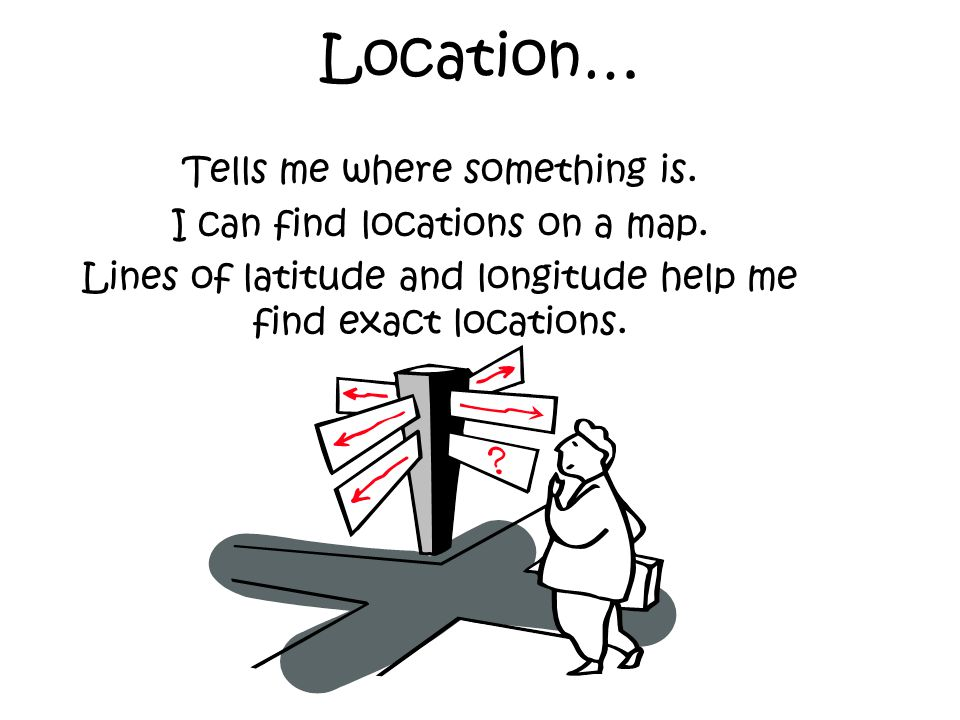 Location… Tells me where something is. I can find locations on a map.