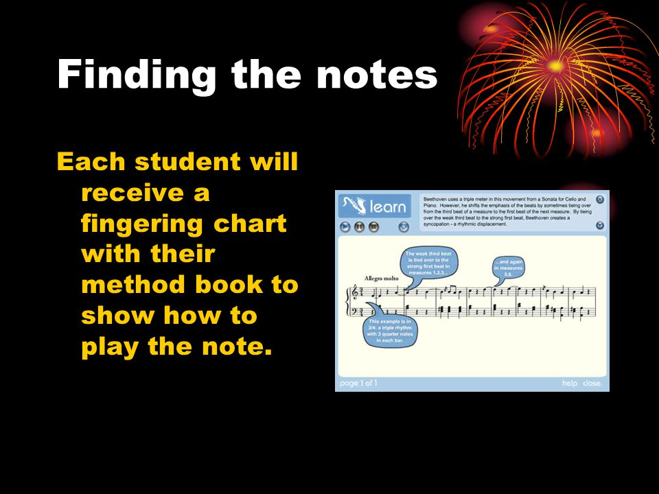 Finding the notes Each student will receive a fingering chart with their method book to show how to play the note.