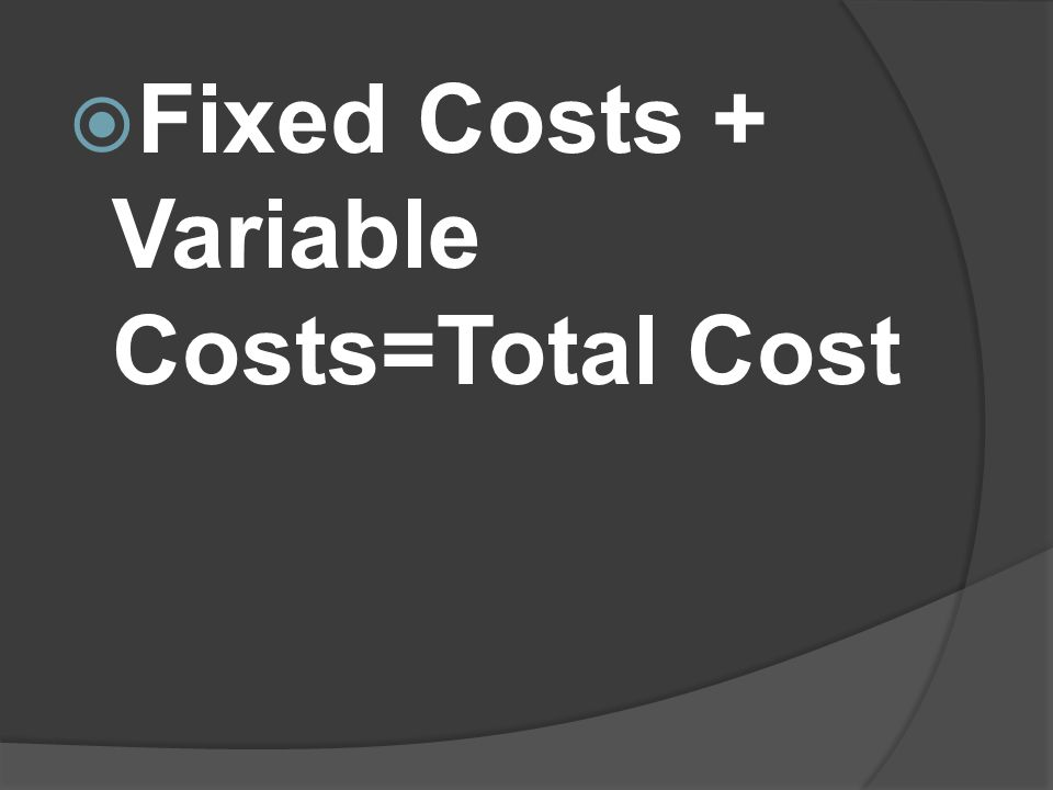 Fixed Costs + Variable Costs=Total Cost