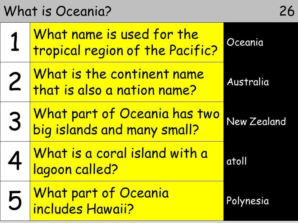 What is Oceania 1. What name is used for the tropical region of the Pacific Oceania. 2. What is the continent name that is also a nation name