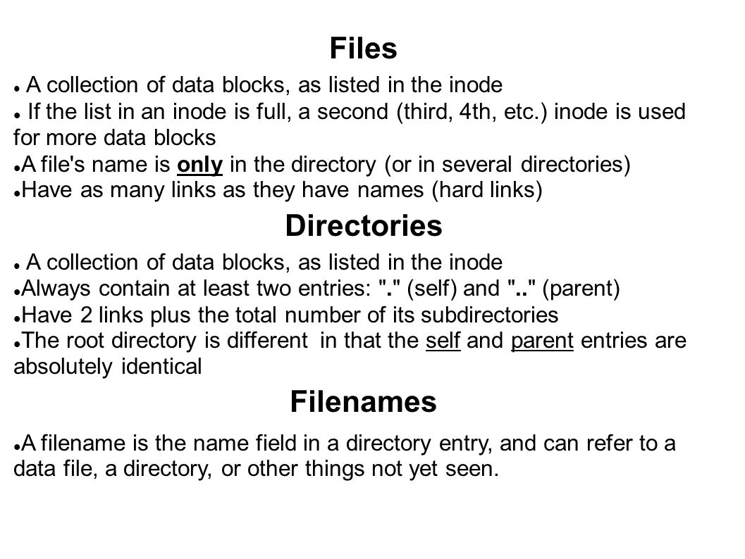 Files Directories Filenames