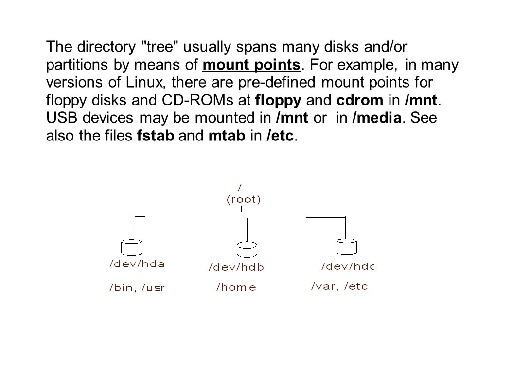 The directory tree usually spans many disks and/or partitions by means of mount points.