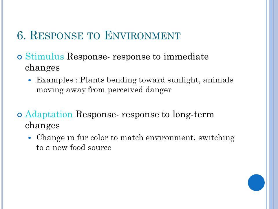 6. Response to Environment