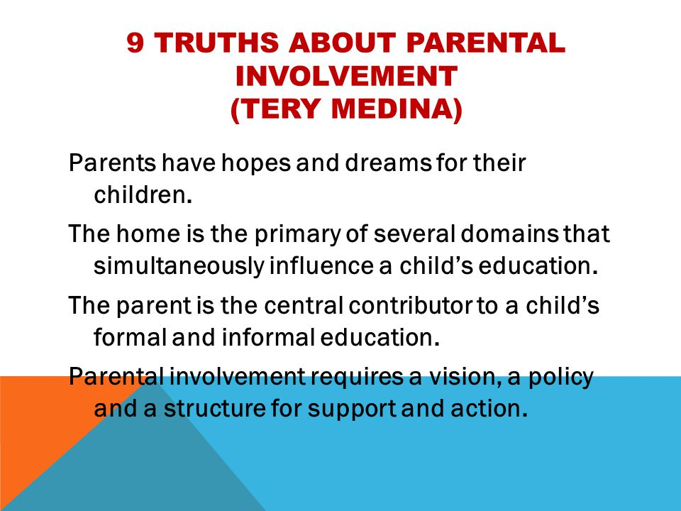 parental involvement impact on a child's Parent involvement as well as the barriers to parent involvement and parents' motivation for involvement introduction american parental involvement in the welfare of children had long been a concern of public officials.