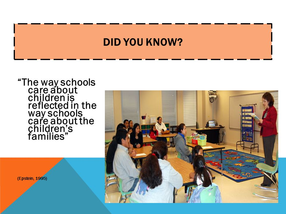 Did You Know The way schools care about children is reflected in the way schools care about the children's families