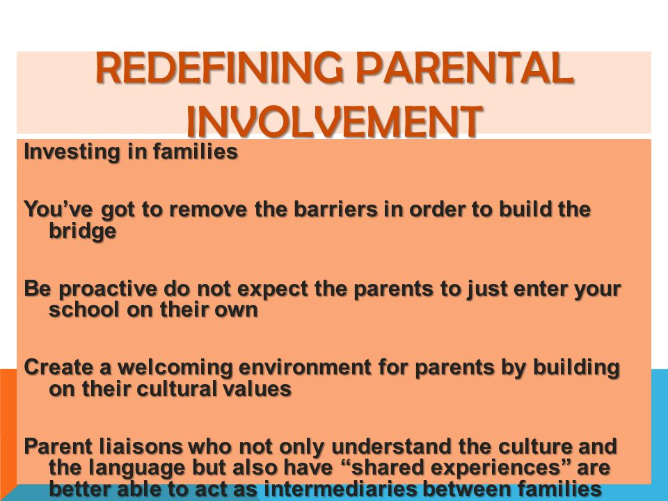 Redefining Parental Involvement