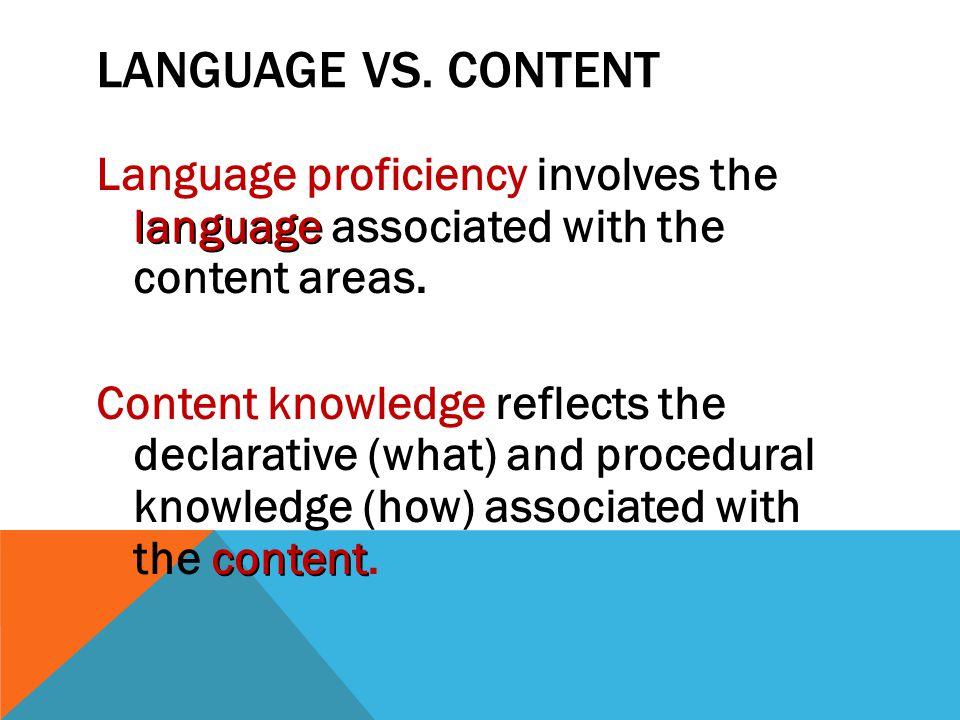 Language vs. Content