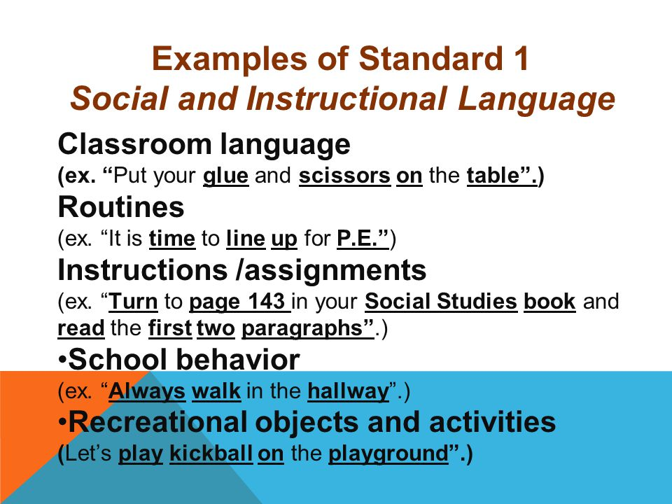 Social and Instructional Language
