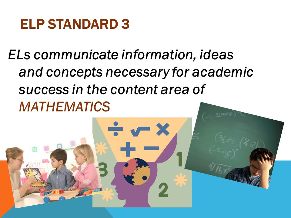 ELP Standard 3 ELs communicate information, ideas and concepts necessary for academic success in the content area of MATHEMATICS.
