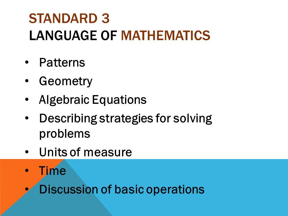 Standard 3 Language of Mathematics