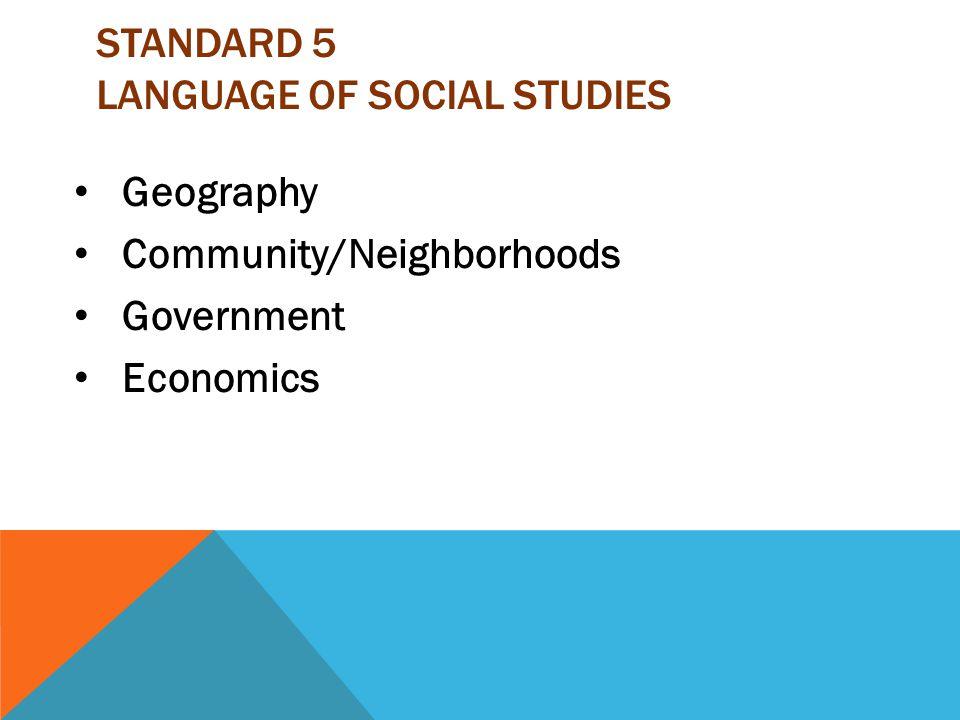 Standard 5 Language of Social Studies