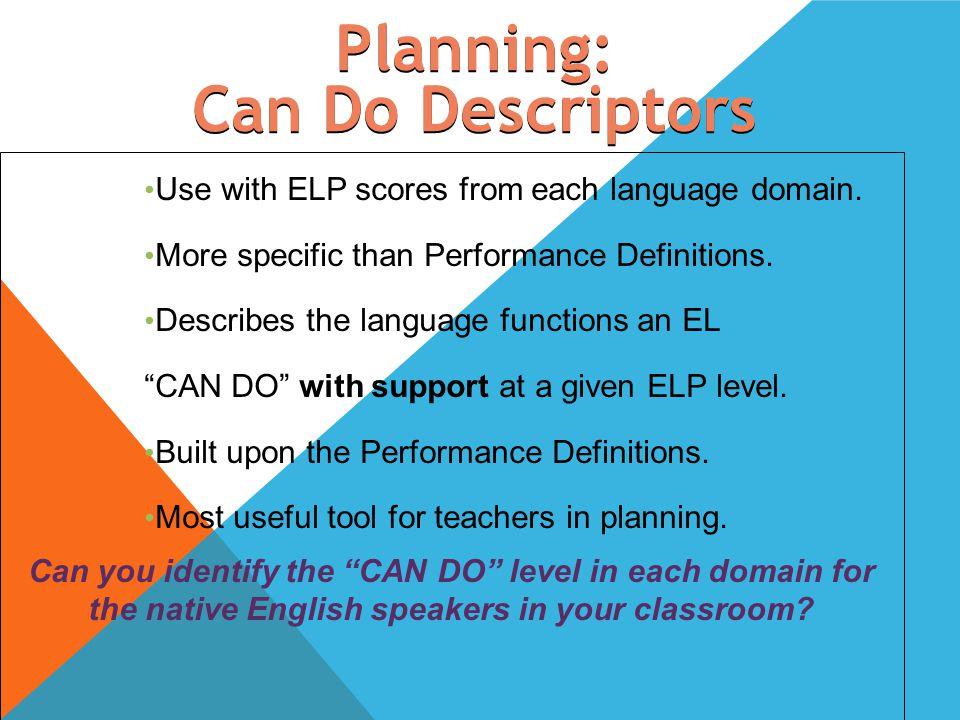 Planning: Can Do Descriptors