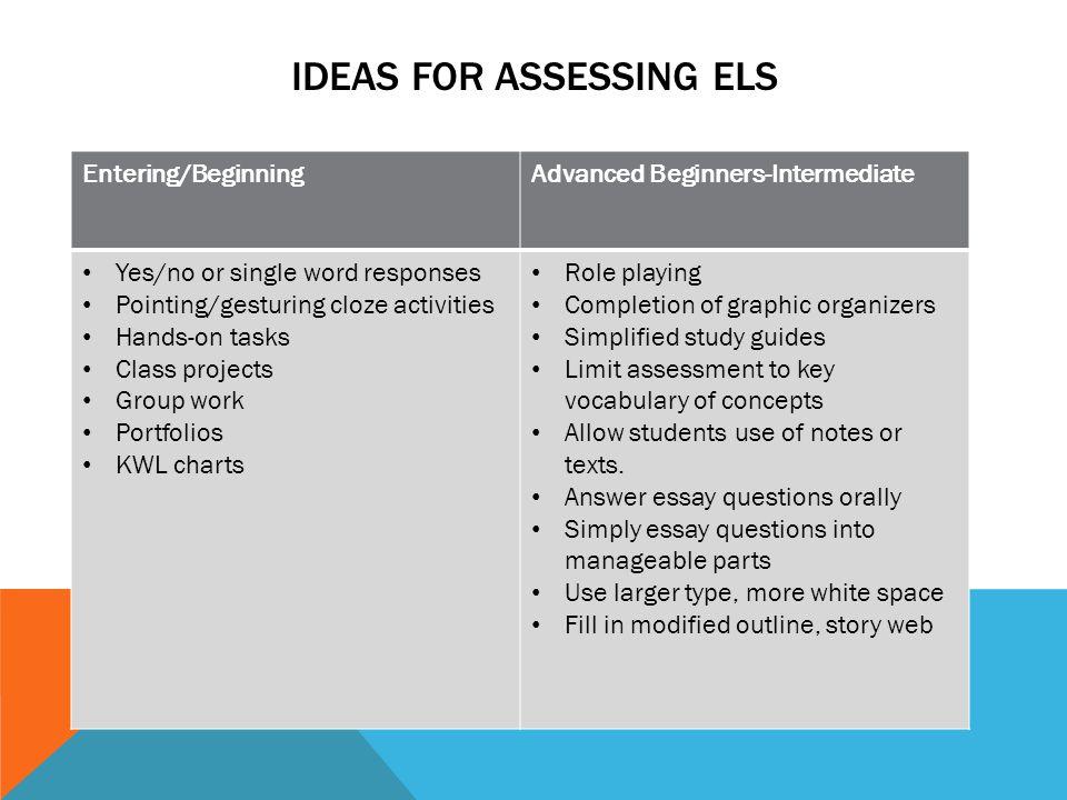 Ideas for assessing els