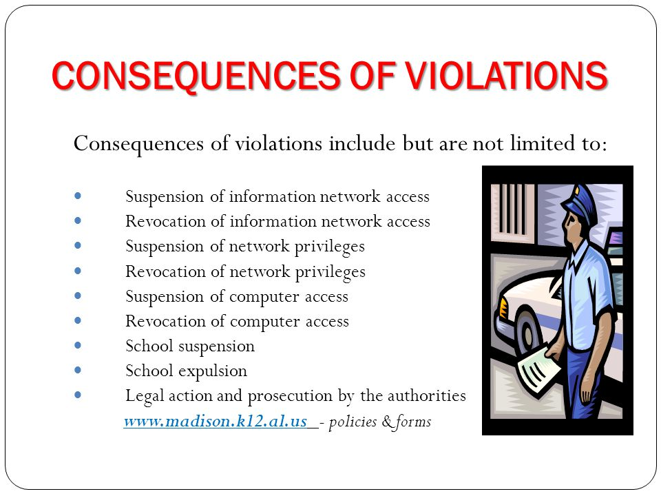 CONSEQUENCES OF VIOLATIONS