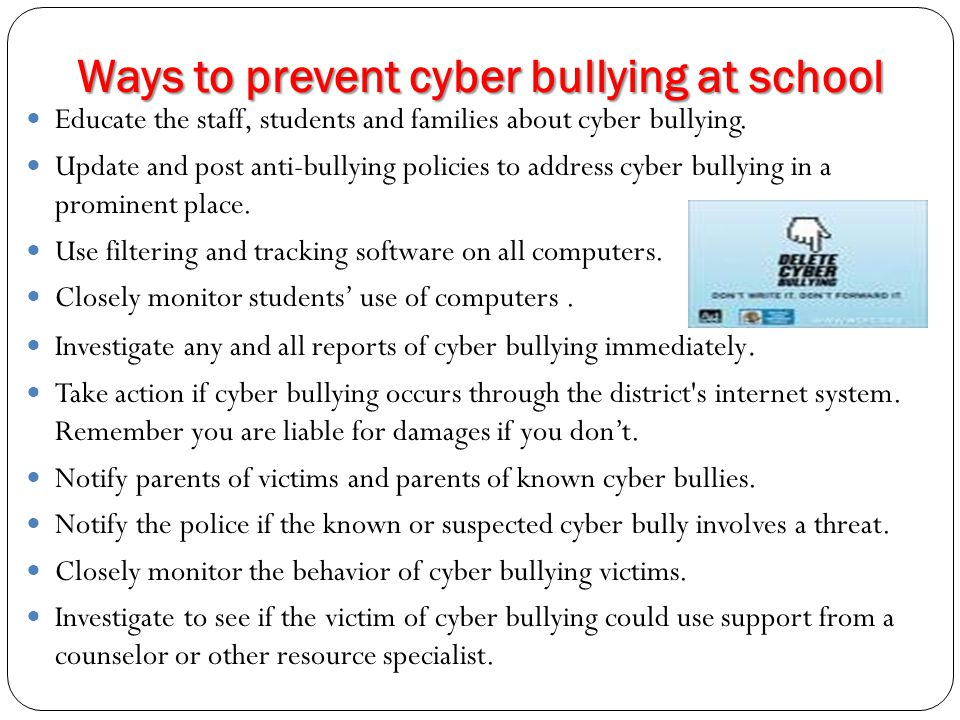 Ways to prevent cyber bullying at school