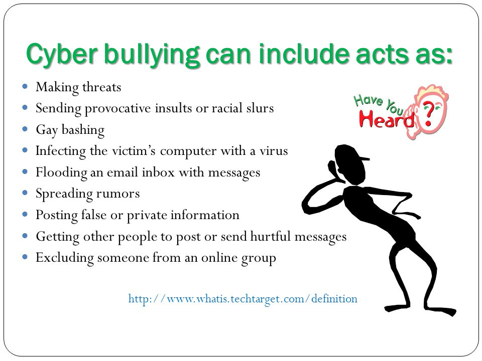 Cyber bullying can include acts as:
