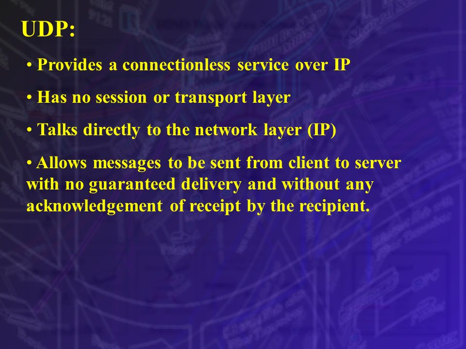 UDP: Provides a connectionless service over IP