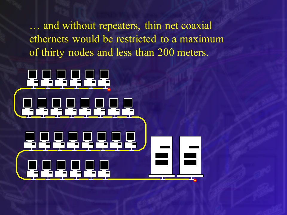 … and without repeaters, thin net coaxial ethernets would be restricted to a maximum of thirty nodes and less than 200 meters.
