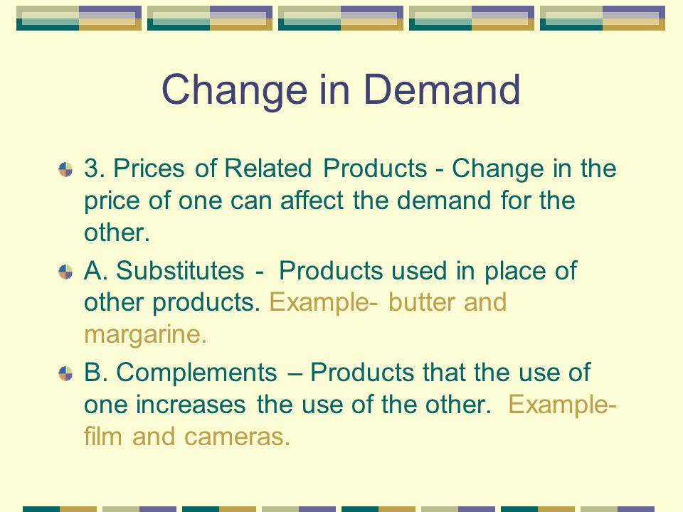 Change in Demand 3. Prices of Related Products - Change in the price of one can affect the demand for the other.