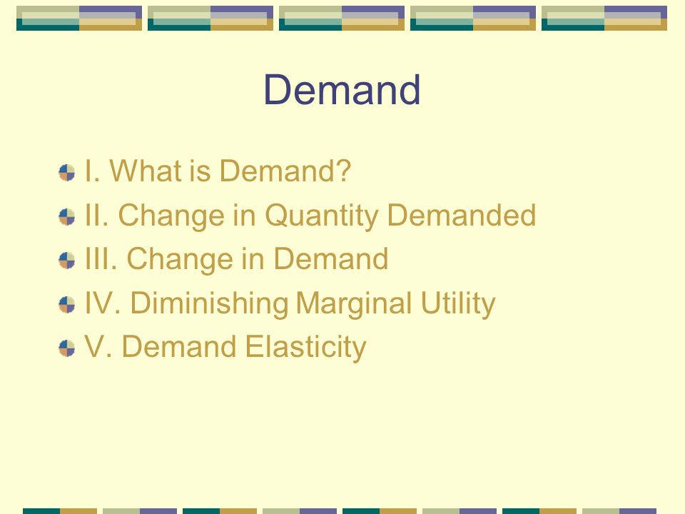 Demand I. What is Demand II. Change in Quantity Demanded