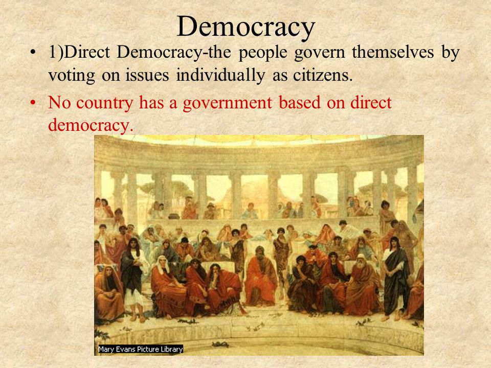 Democracy 1)Direct Democracy-the people govern themselves by voting on issues individually as citizens.
