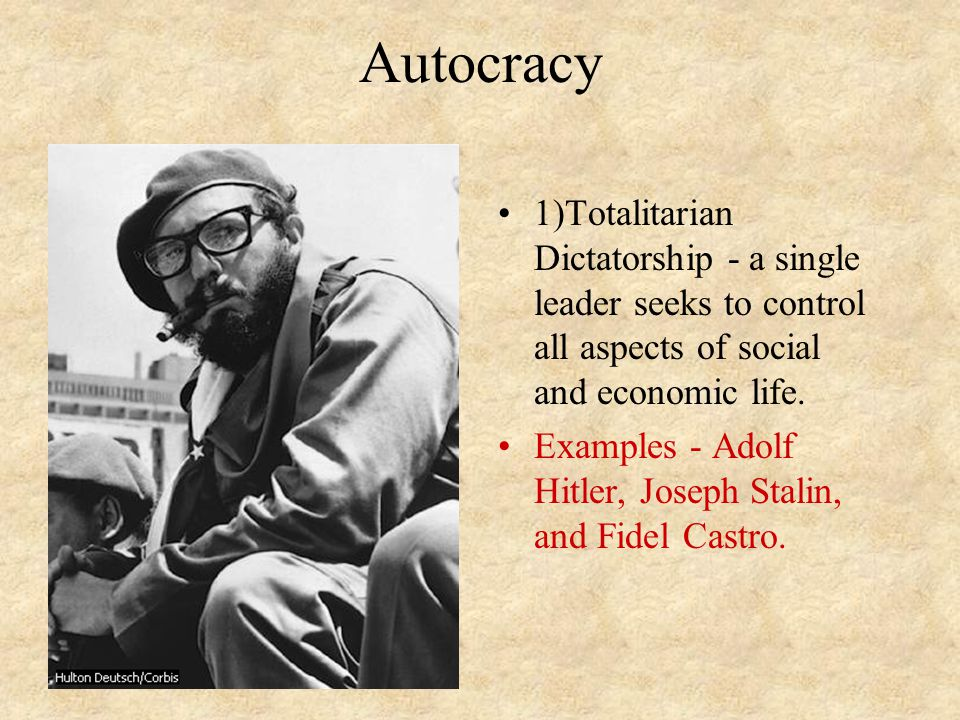 Autocracy 1)Totalitarian Dictatorship - a single leader seeks to control all aspects of social and economic life.