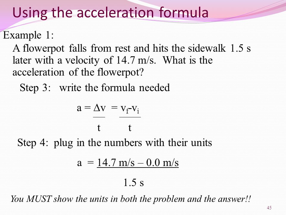 Chapter 2 Physical Science ppt download – Velocity and Acceleration Calculation Worksheet Answers
