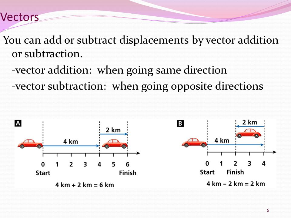 Vectors You can add or subtract displacements by vector addition or subtraction. -vector addition: when going same direction.
