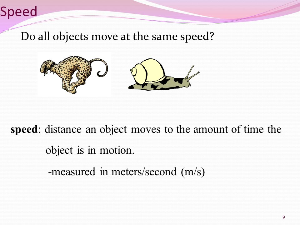 Speed Do all objects move at the same speed