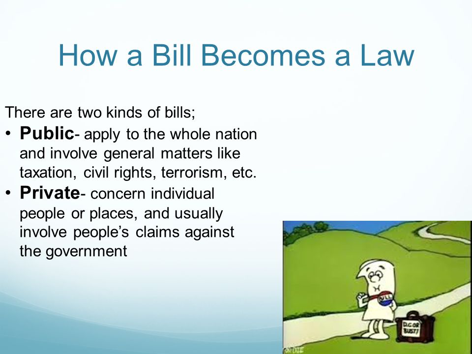 How a Bill Becomes a Law There are two kinds of bills;