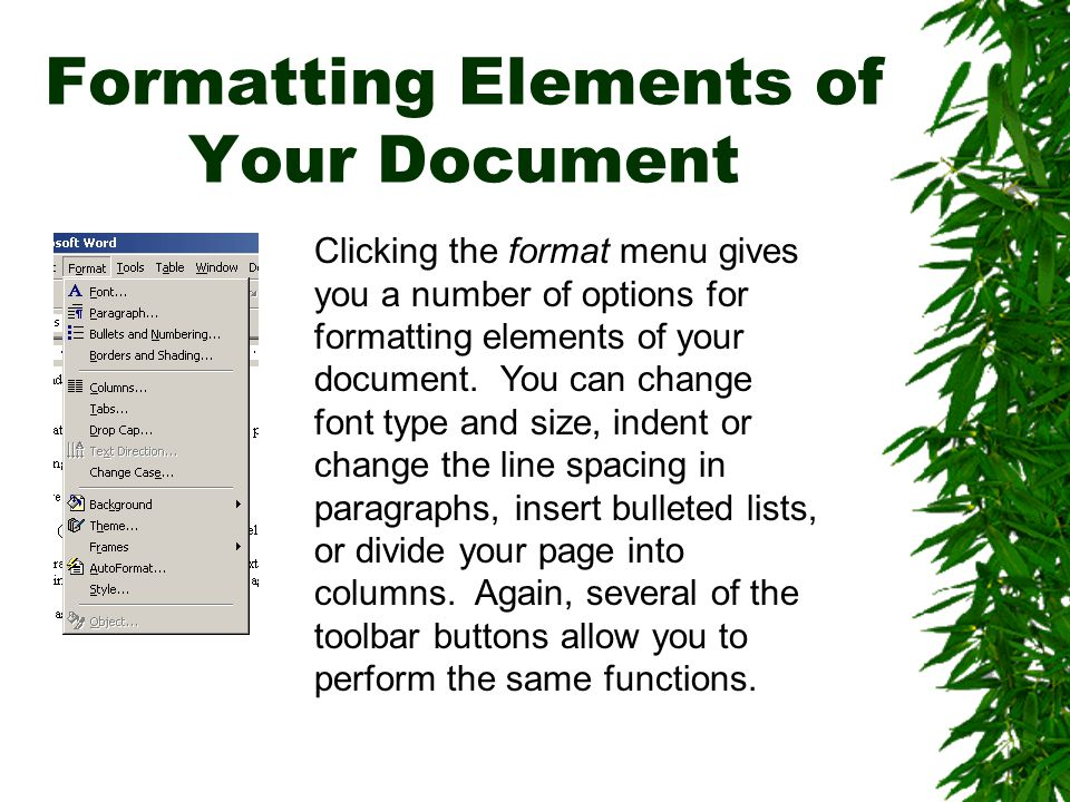 Formatting Elements of Your Document