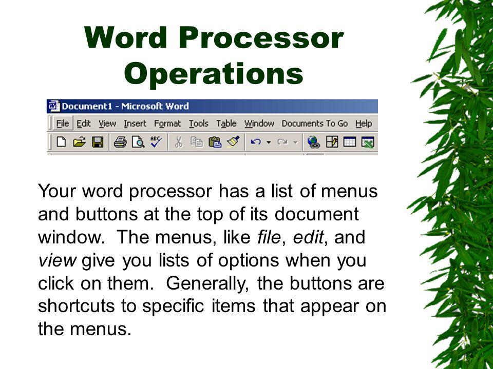 Word Processor Operations