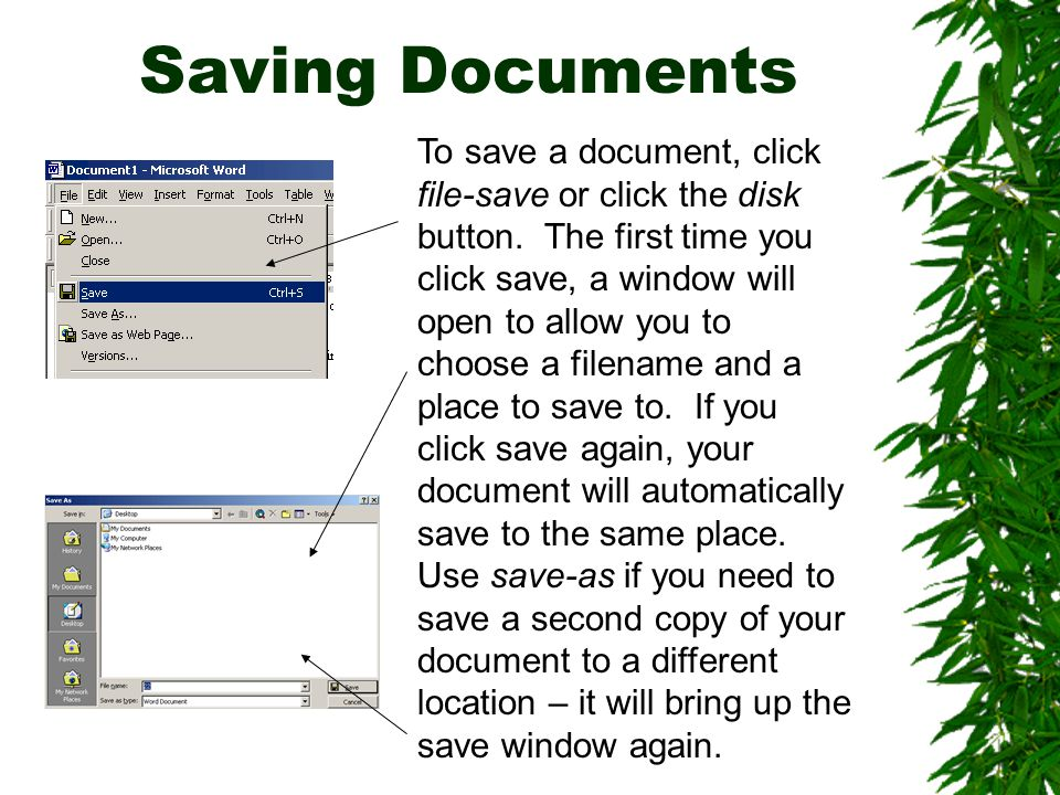 Saving Documents